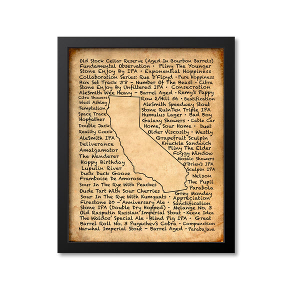 California Beer Map Art Print