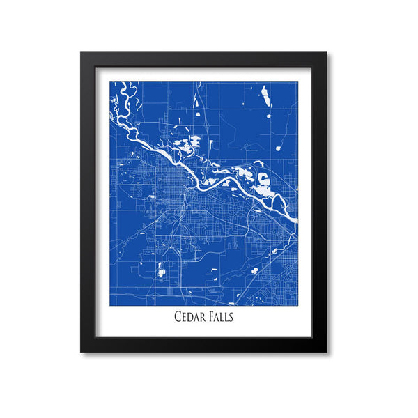 Cedar Falls Map Art Print, Iowa