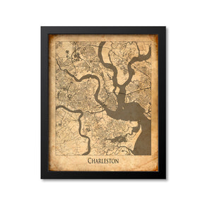 Charleston Map Art Print, South Carolina