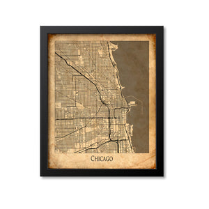 Chicago Map Art Print, Illinois