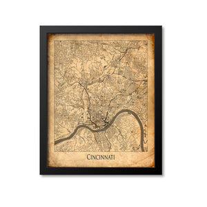 Cincinnati Map Art Print, Ohio