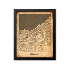 Cleveland Map Art Print, Ohio