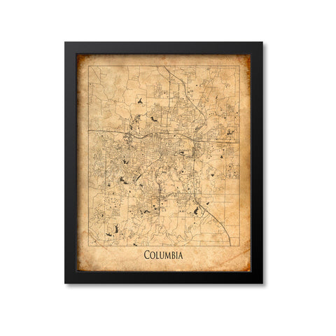 Columbia Map Art Print, Missouri