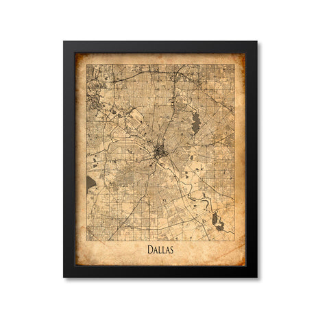 Dallas Map Art Print, Texas