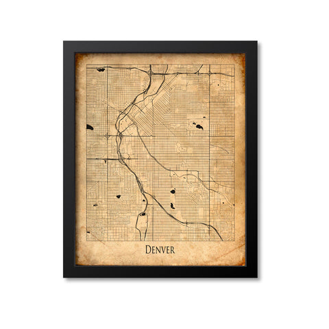 Denver Map Art Print, Colorado