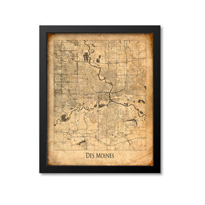 Des Moines Map Art Print, Iowa