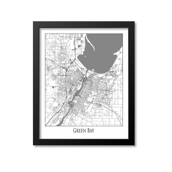 Green Bay Map Art Print, Wisconsin