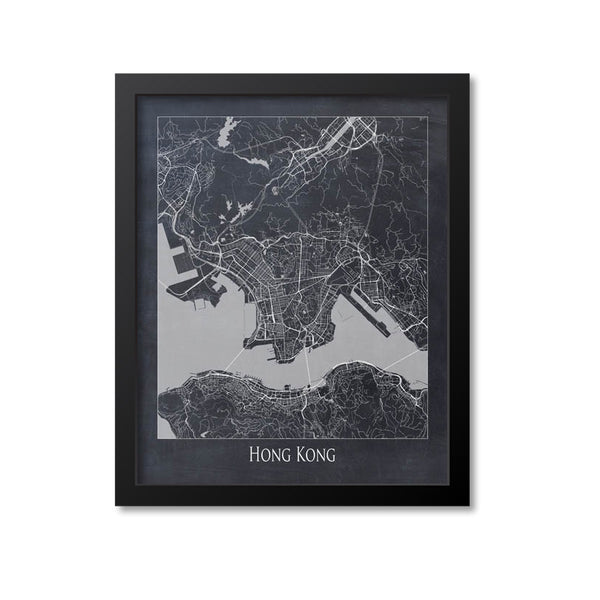 Hong Kong Map Art Print, China