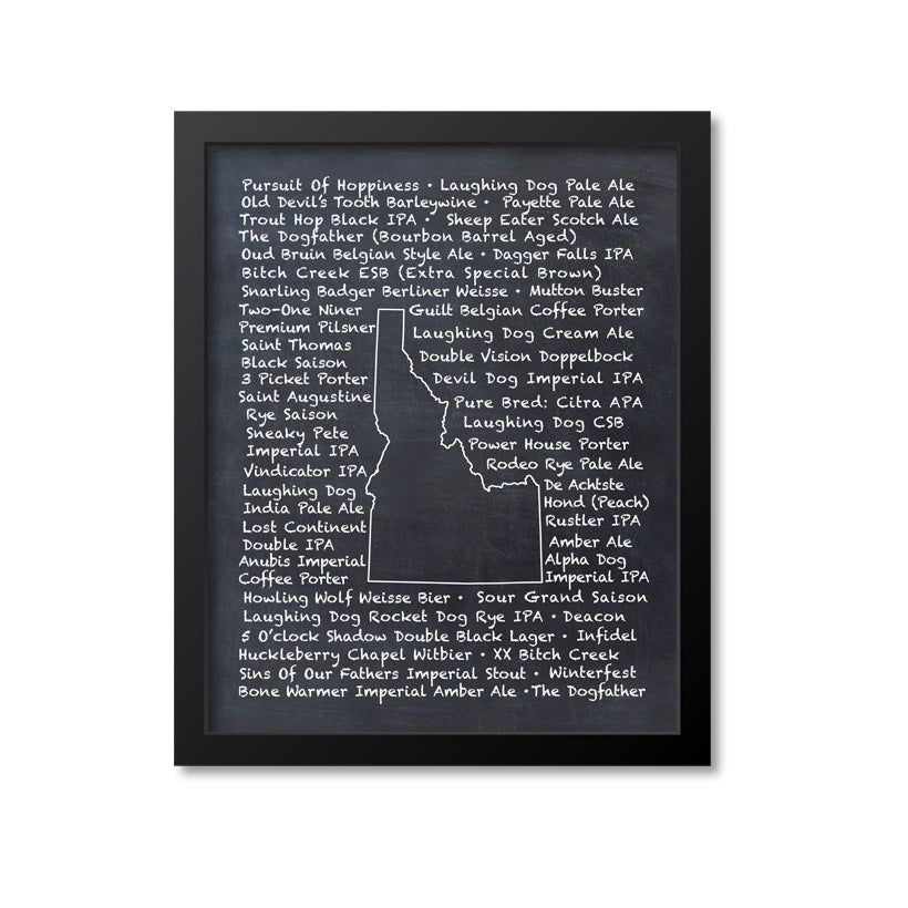Idaho Beer Map Art Print