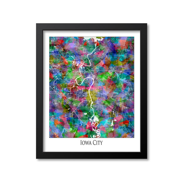 Iowa City Map Art Print, Iowa