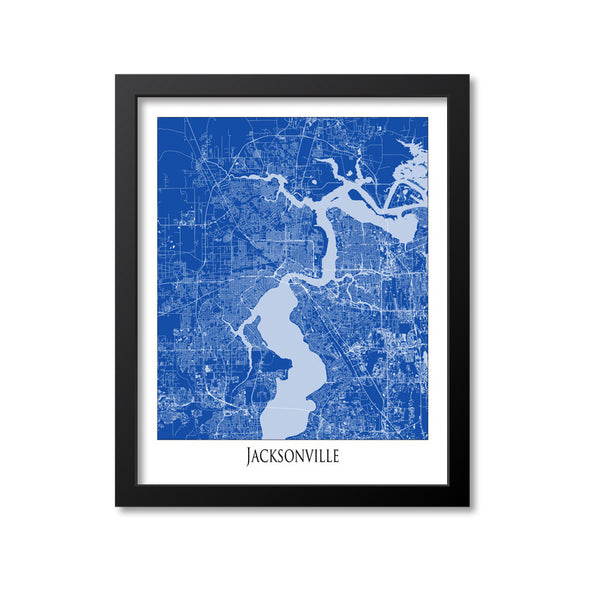 Jacksonville Map Art Print, Florida