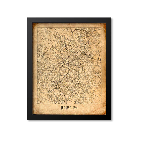 Jerusalem Map Art Print, Israel