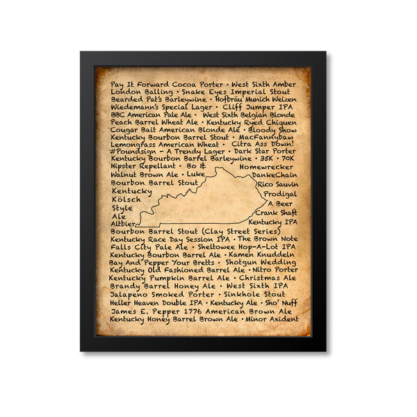 Kentucky Beer Map Art Print