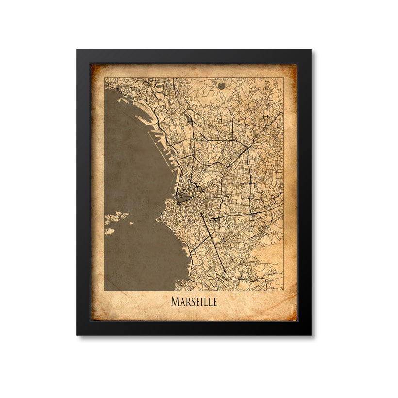 Marseille Map Art Print, France