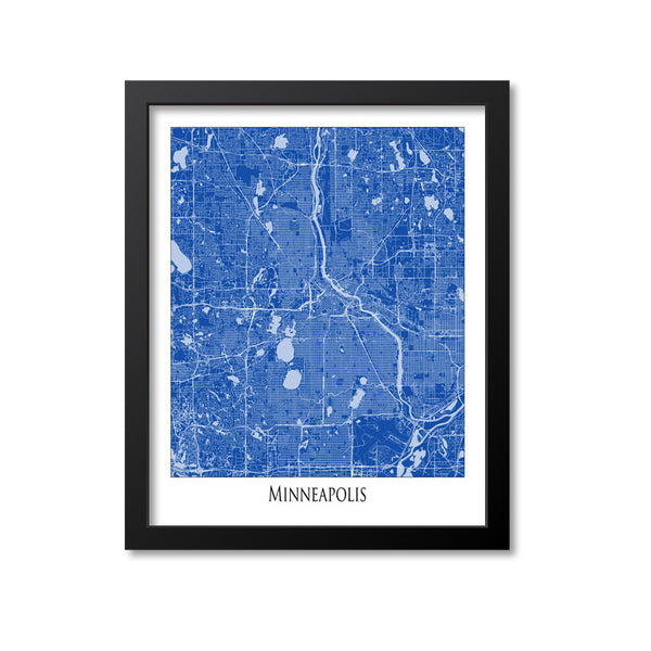 Minneapolis Map Art Print, Minnesota