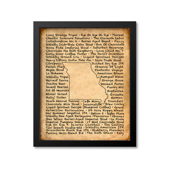 Missouri Beer Map Art Print