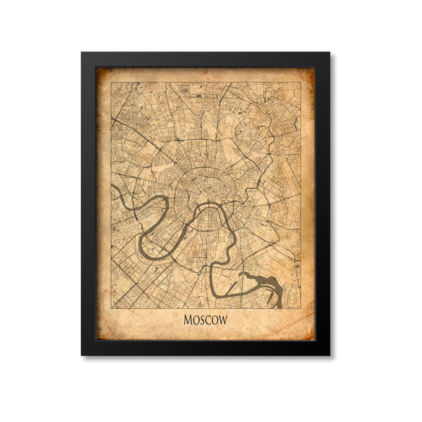 Moscow Map Art Print, Russia