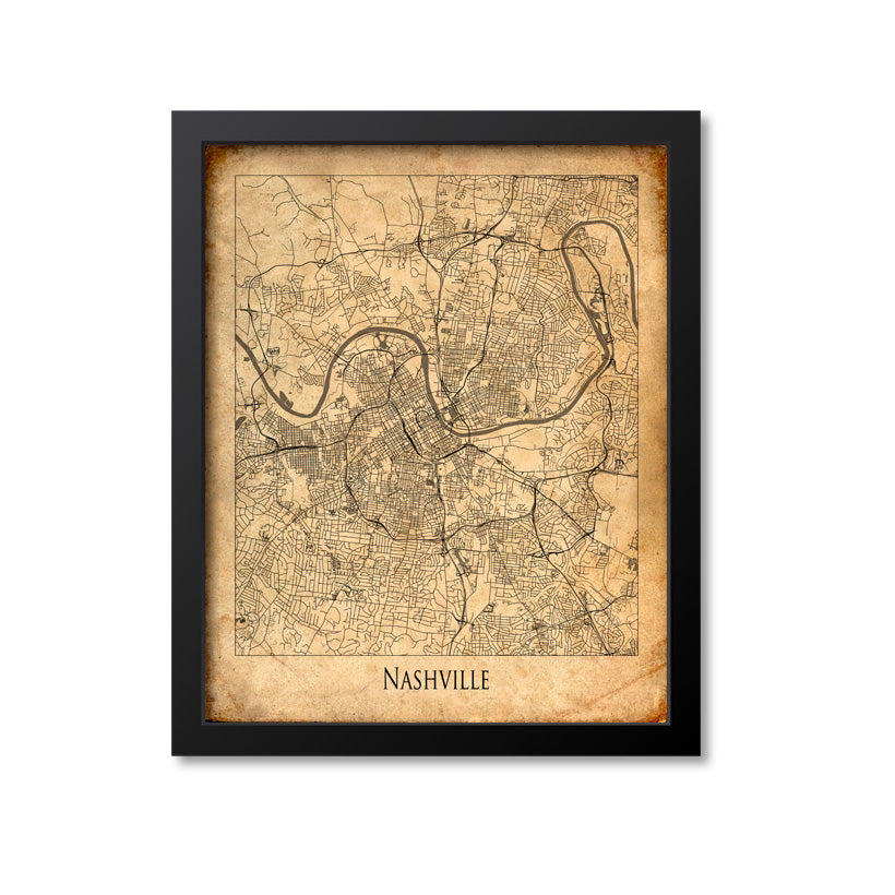 Nashville Map Art Print, Tennessee