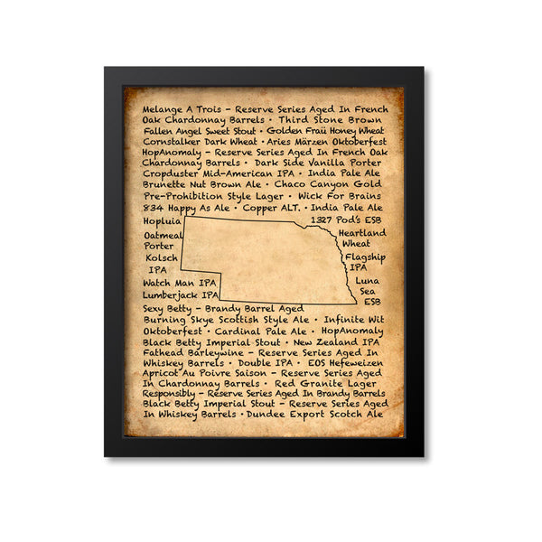 Nebraska Beer Map Art Print