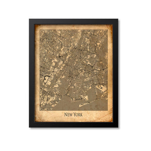 New York City Map Art Print, New York