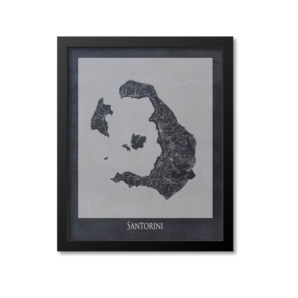 Santorini Map Art Print, Greece