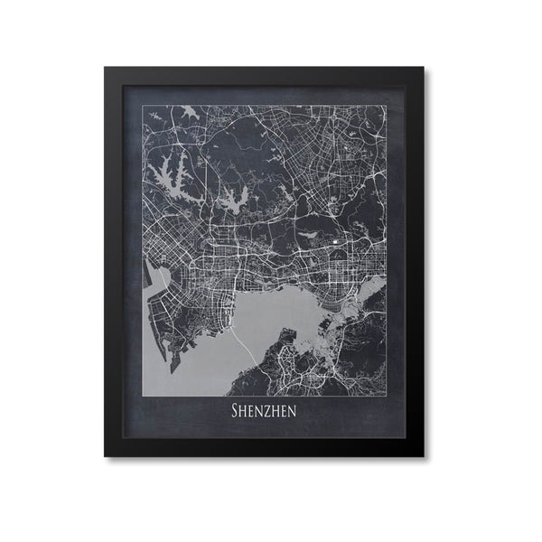 Shenzhen Map Art Print, China