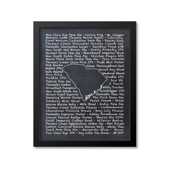 South Carolina Beer Map Art Print