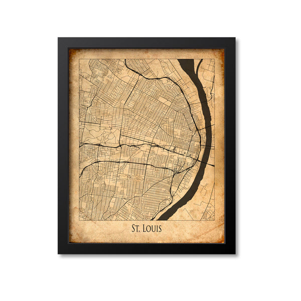 St Louis Map Art Print, Missouri