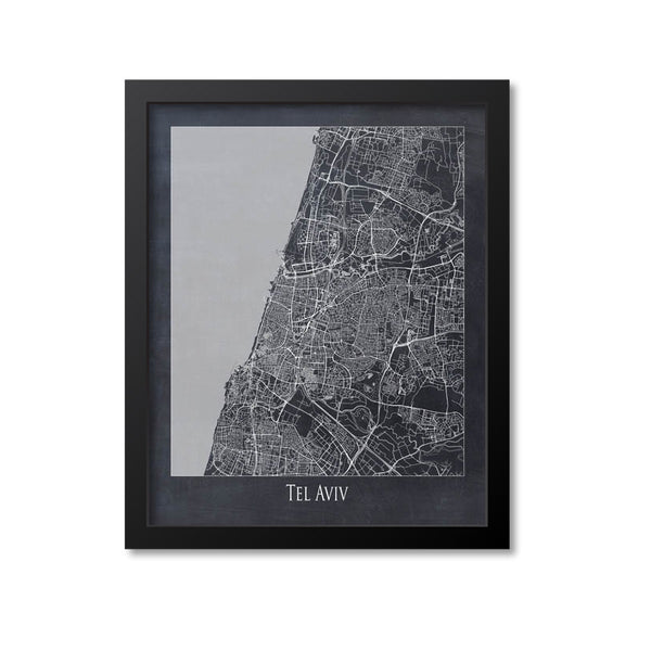 Tel Aviv Map Art Print, Israel