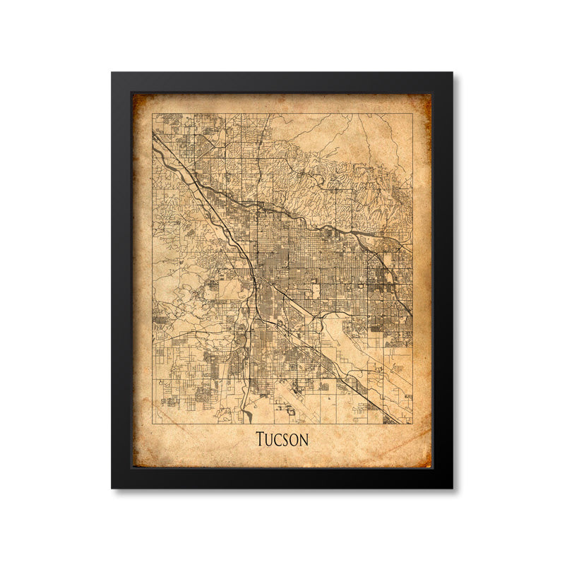 Tucson Map Art Print, Arizona