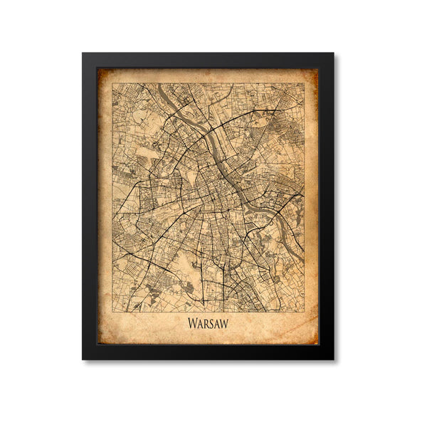 Warsaw Map Art Print, Poland