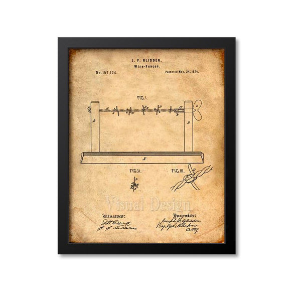 Barbed Wire Patent Print