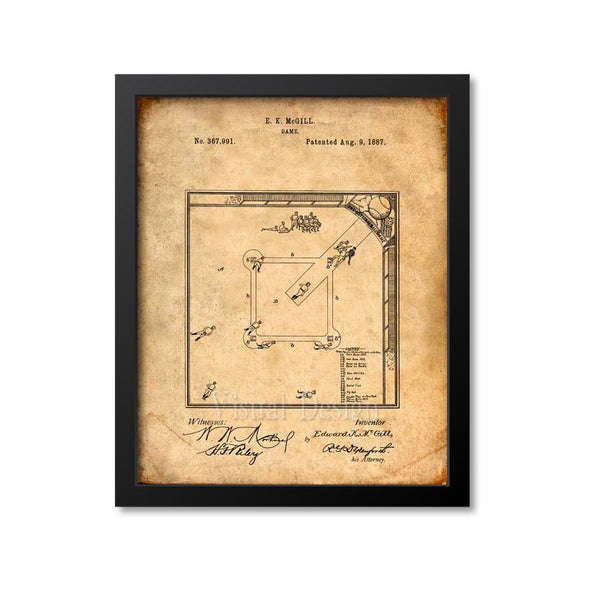 Baseball Board Game Patent Print