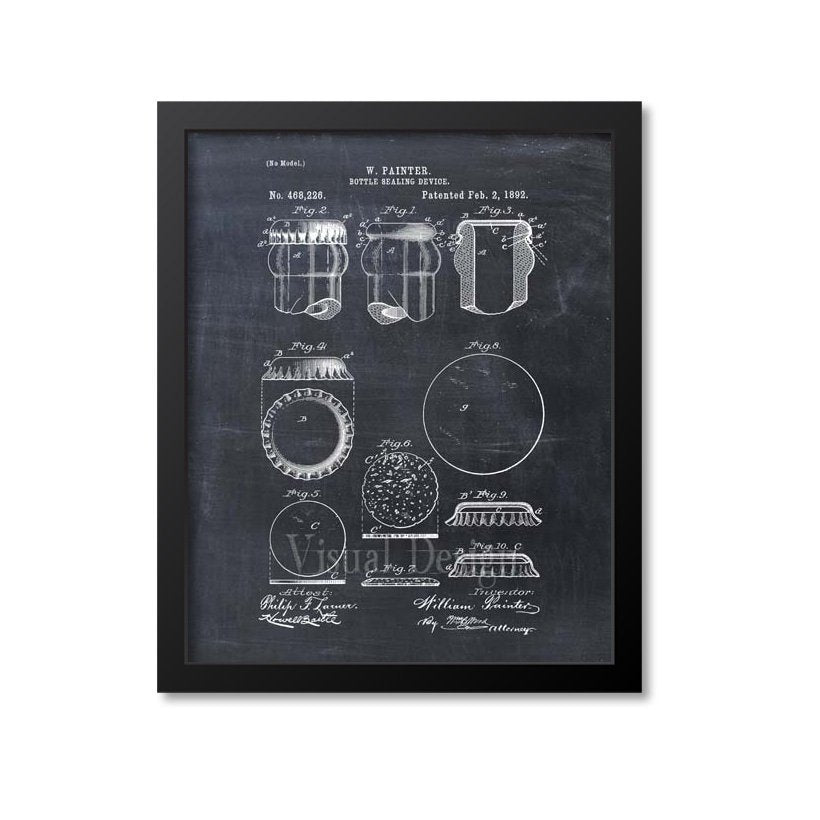 Beer Bottle Cap Patent Print