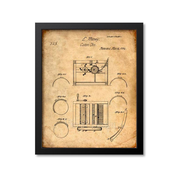Cotton Gin Patent Print