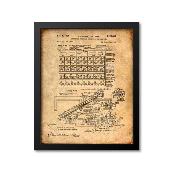 ENIAC Mainframe Computer Patent Print