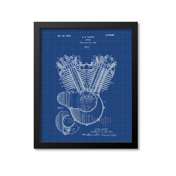 Harley Motorcycle Engine Patent Print
