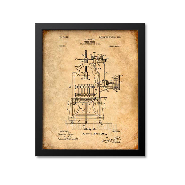 Wine Press Patent Print