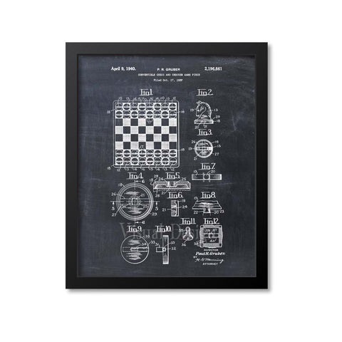 Convertible Chess And Checkers Patent Print
