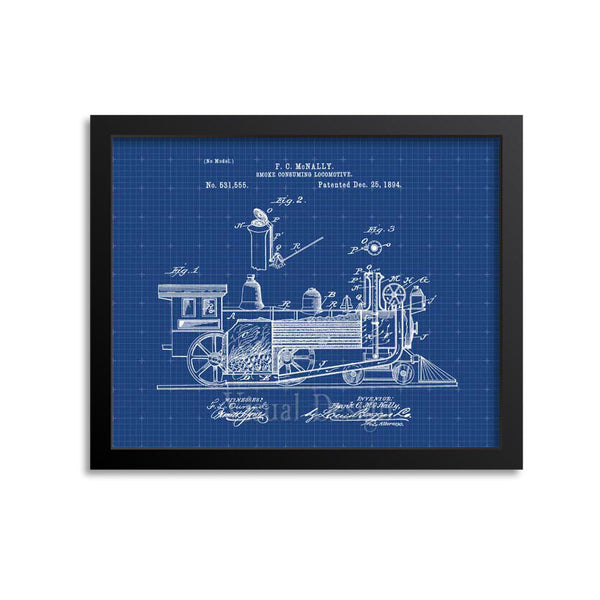 Locomotive Train Engine Patent Print