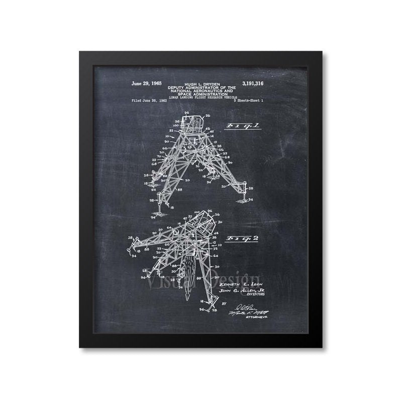 Nasa Lunar Landing Vehicle Patent Print