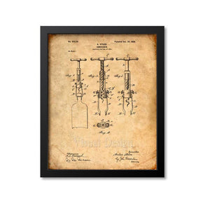Cork Screw Patent Print