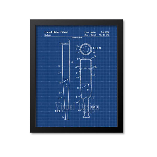 Softball Bat Patent Print