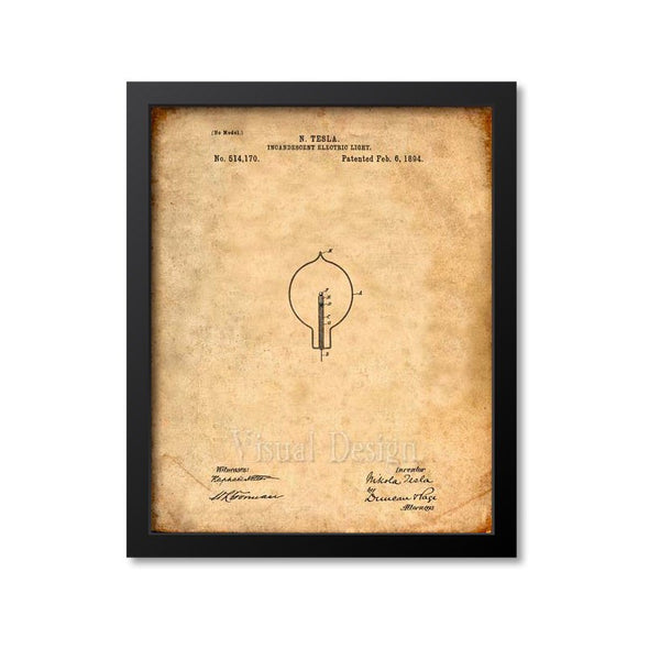 Tesla Light Bulb Patent Print