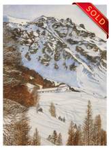 Load image into Gallery viewer, Le Chalet Blanc and Touno mountain in Winter