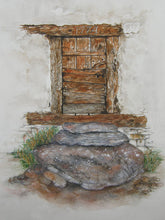 Load image into Gallery viewer, Original watercolour painting of an old door in Viechiesso in Zinal, Switzerland.