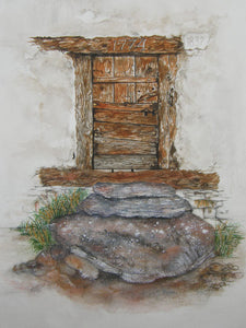 Original watercolour painting of an old door in Viechiesso in Zinal, Switzerland.