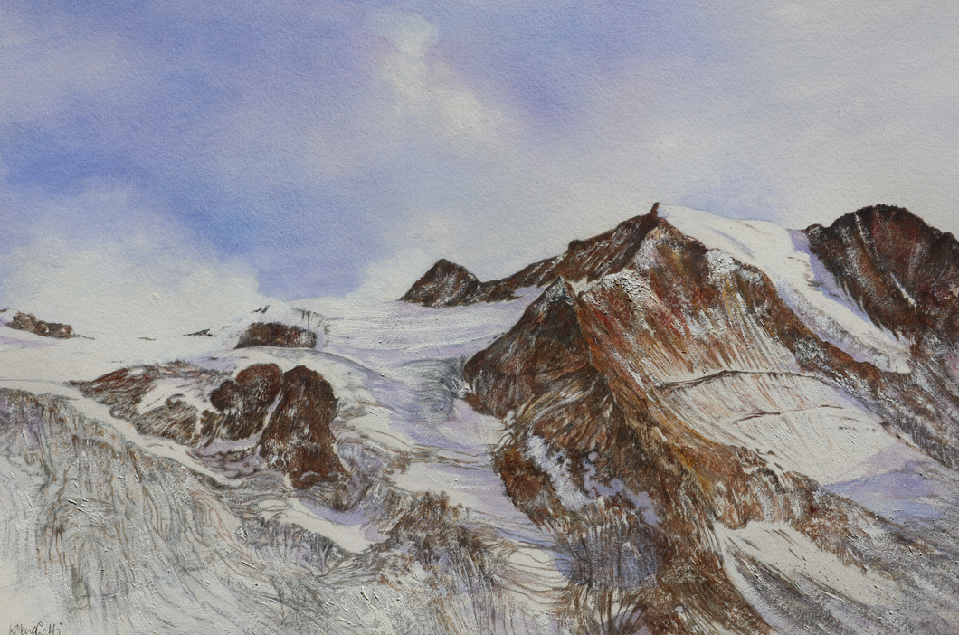 Painting of the Moiry Glacier and the Pointes de Mourtie
