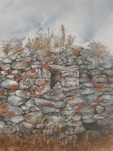 Painting of a stone wall