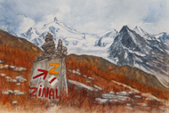 Painting of the Sierre Zinal race
